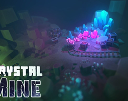 game-ready crystal mine 3d asset