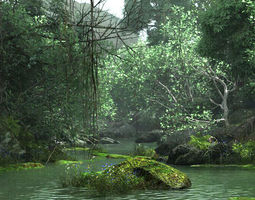 Creek through the primeval forest 3D