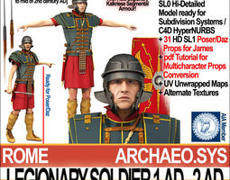 3d ancient rome legionary soldier 1 ad 2 ad and poser daz props set