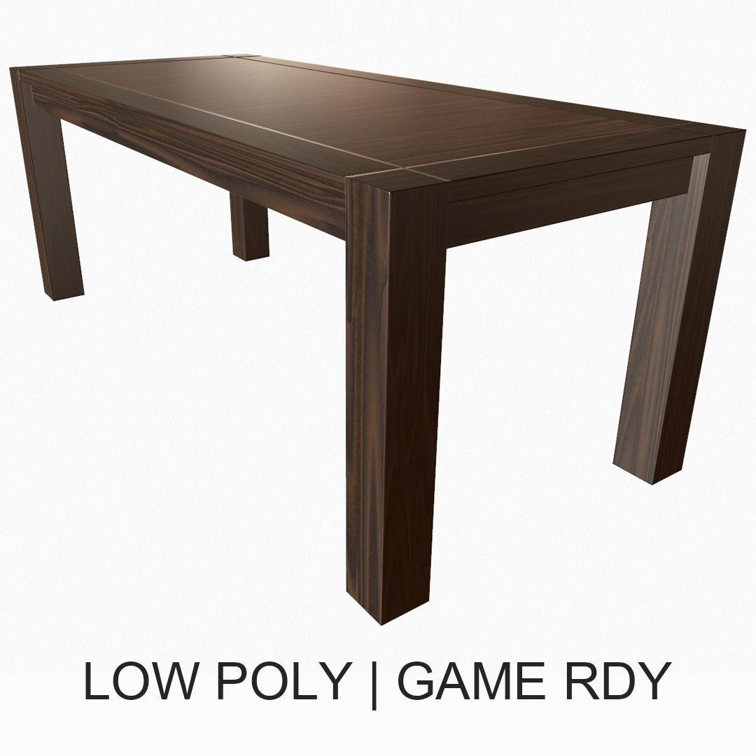 Simple Wooden Table 3d Model Low Poly Obj Fbx 1 ...
