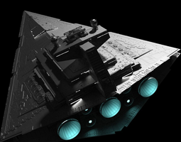 star wars star destroyer highly detailed with lights and texture 3d model