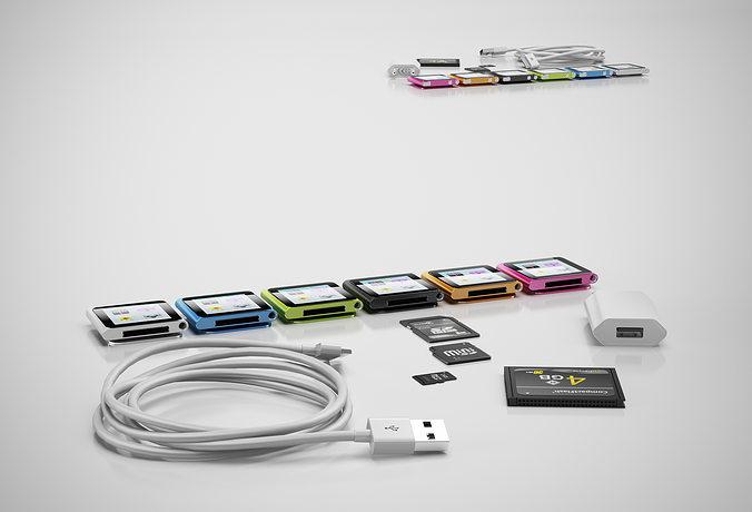 ipod nano mp3 player 3d model max obj mtl 3ds c4d 1
