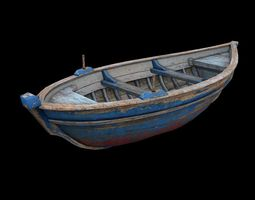3D model low-poly wooden boat