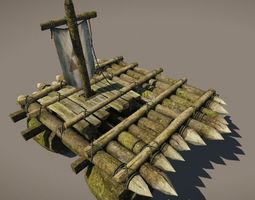 wooden raft model game-ready