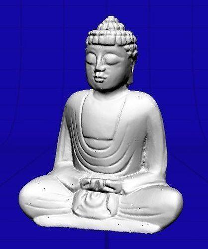 small wooden buddha statue 3d model obj mtl ige igs iges 1