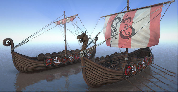 game ready medieval viking ship pack 3d model low-poly max fbx ma mb 1