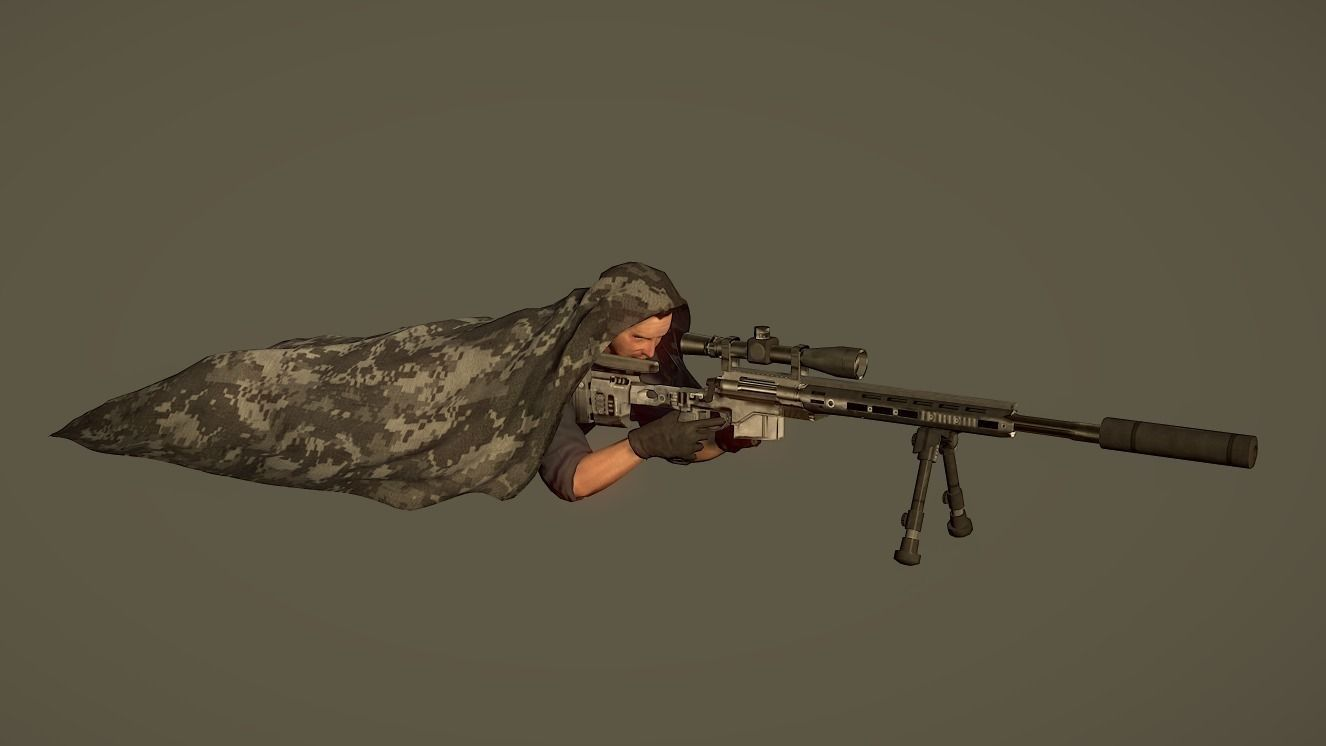 Lowpoly Sniper Character with Rifle