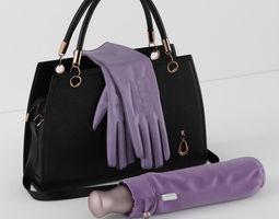 3D model handbag umbrella gloves
