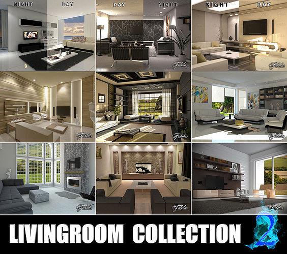livingrooms collection 2 3d model max obj mtl 3ds fbx c4d dae 1