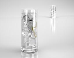 3D Water glass with ice