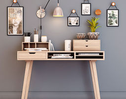 Desk with decorative set 3D model