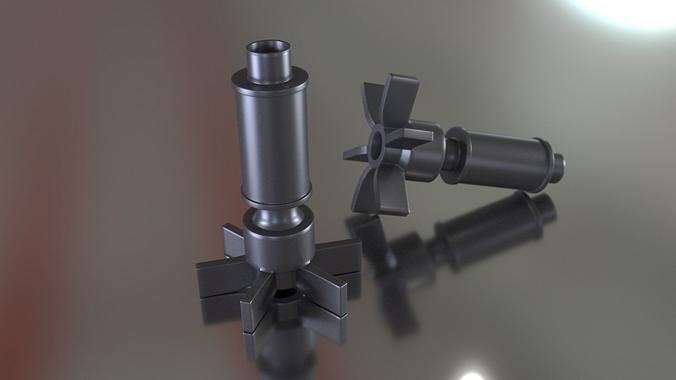 aquarium filter impeller 3d model obj mtl 3ds fbx stl blend 1