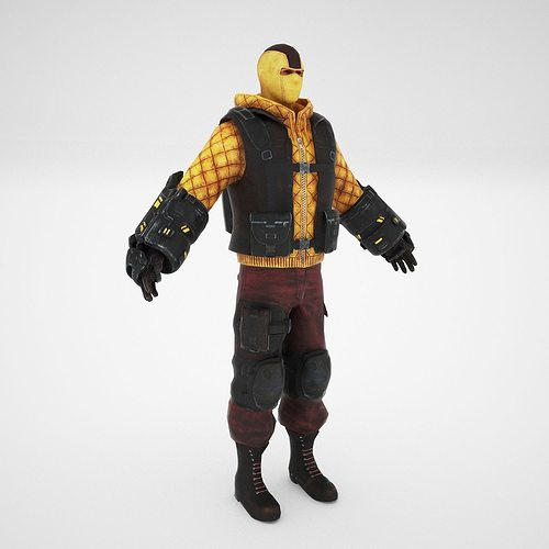 shock man 3d model low-poly rigged animated max obj mtl fbx dae 1