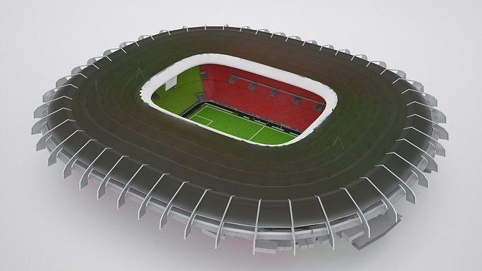 stadium hq 3d model low-poly max obj mtl fbx 1