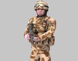british royal marine desert rigged soldier 3d
