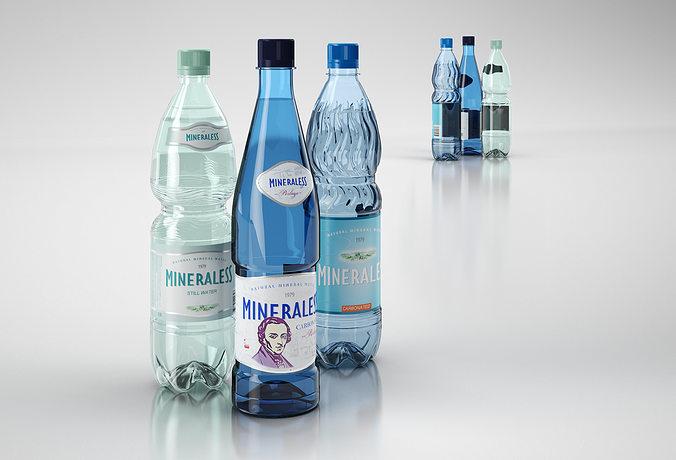 mineral water bottles 3d model max obj 3ds c4d mtl 1