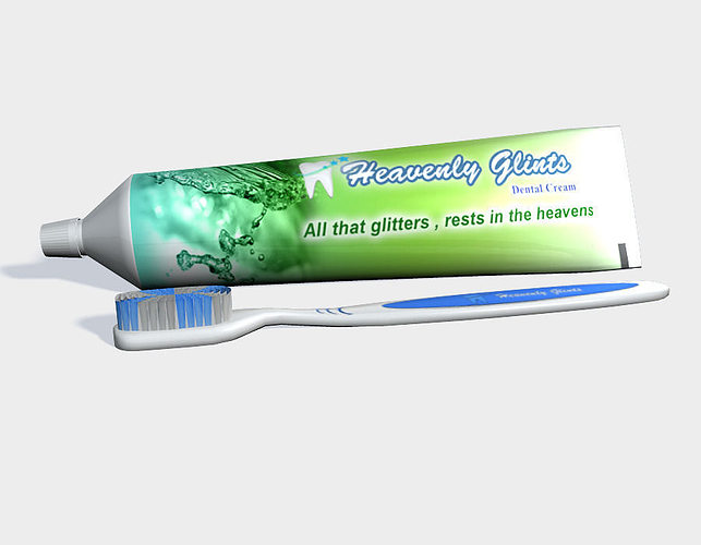 tooth paste and brush 3d model low-poly obj fbx ma mb mtl 1