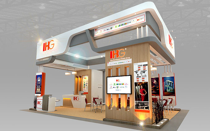 Exhibition Booth Free Download : Ihg hotel booth design d model cgtrader