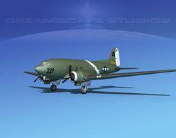 Douglas C-47 Dakota USAAF V4 3D Model