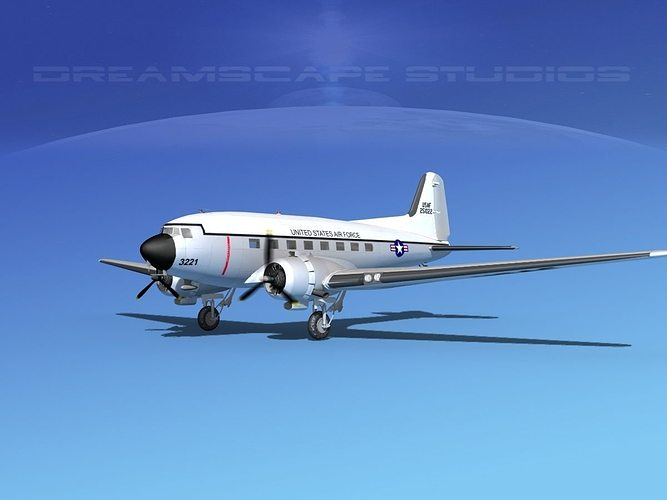 douglas c-47 dakota usaf v01 3d model rigged max obj 3ds lwo lw lws dxf stl 1