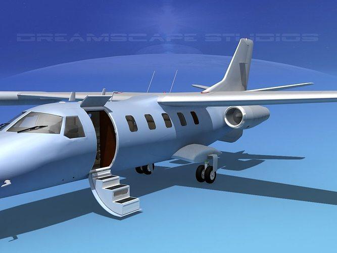 dreamscape at-48 jet executive bare metal 3d model animated max obj mtl 3ds lwo lw lws dxf stl 1