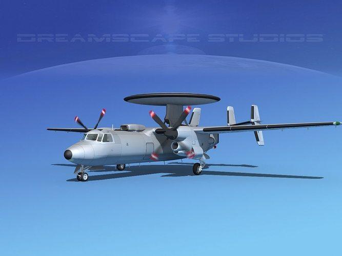 grumman e-2c hawkeye bare metal 3d model animated max obj mtl 3ds lwo lw lws dxf stl 1