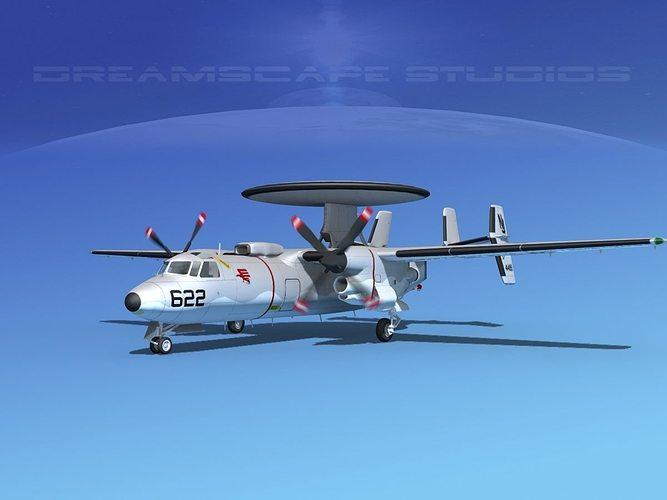 grumman e-2c hawkeye v02 3d model animated max obj mtl 3ds lwo lw lws dxf stl 1