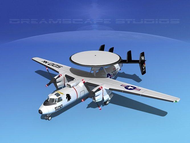 grumman e-2c hawkeye v04 3d model animated max obj mtl 3ds lwo lw lws dxf stl 1
