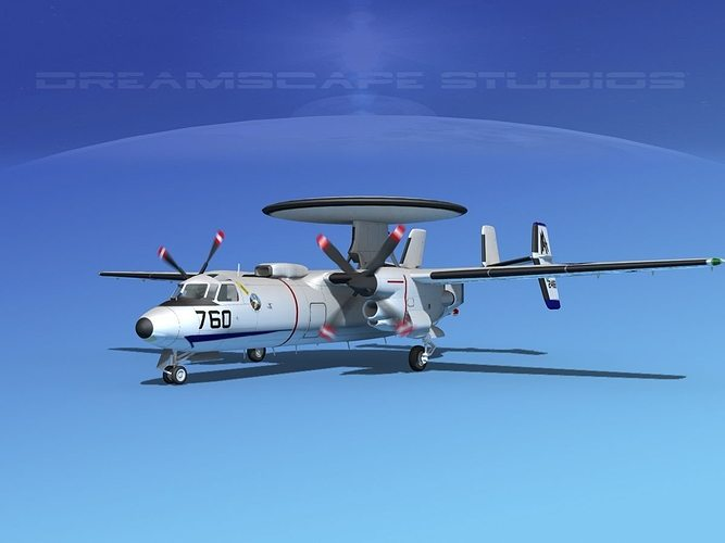 grumman e-2c hawkeye v07 3d model animated max obj mtl 3ds lwo lw lws dxf stl 1