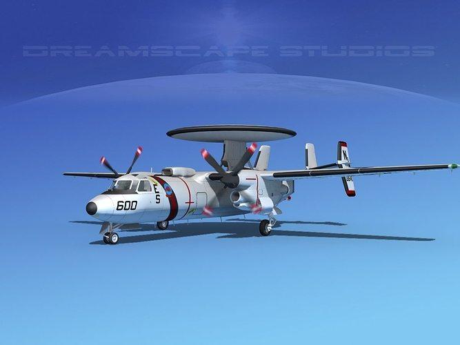 grumman e-2c hawkeye v10 3d model animated max obj mtl 3ds lwo lw lws dxf stl 1