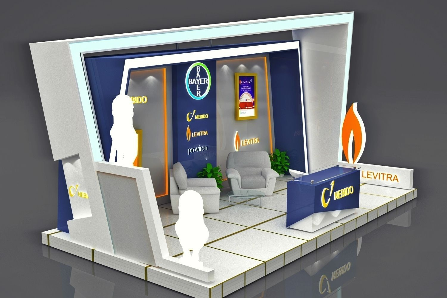 Exhibition Booth 3d Model Rigged Max Obj
