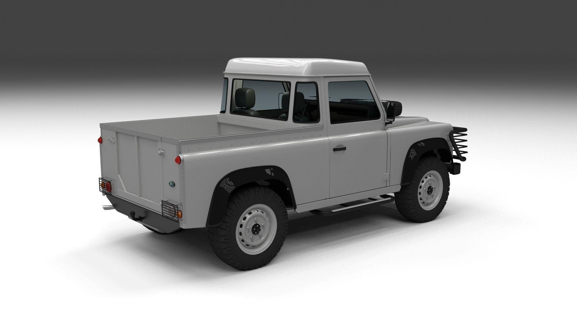 full land rover defender 90 pick up 3d model obj fbx stl blend dae. Black Bedroom Furniture Sets. Home Design Ideas