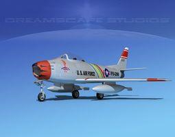 north american f-86 sabre jet v04 usaf rigged 3d