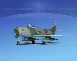 rigged north american f-86 sabre jet italy 3d