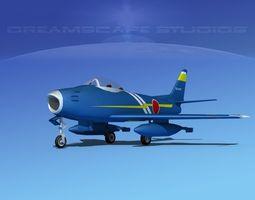 rigged 3d north american f-86 sabre jet v12 jadf 2