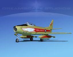 rigged 3d model north american f-86 sabre jet rcaf golden hawks