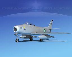 rigged 3d model north american f-86 sabre jet pak
