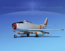 north american f-86 sabre jet spain rigged 3d model