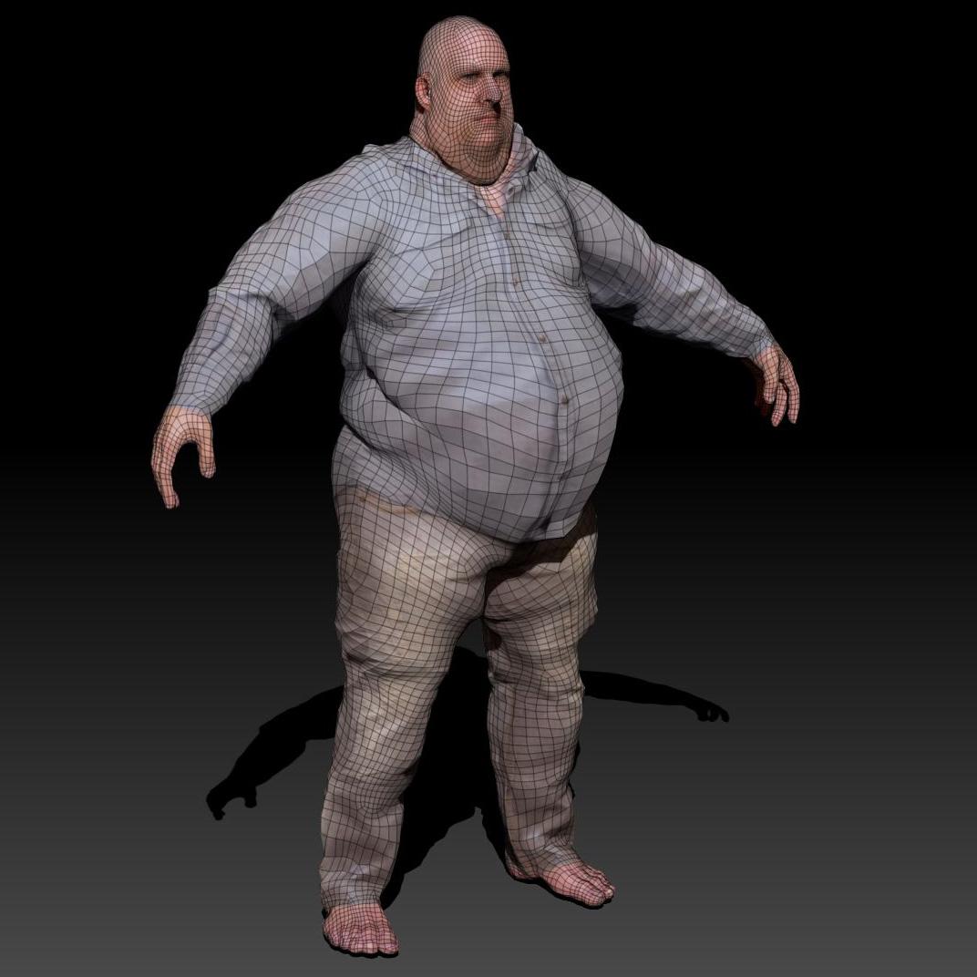 3D Model Large Guy VR / AR / Low-poly OBJ 3DS DAE WRL WRZ