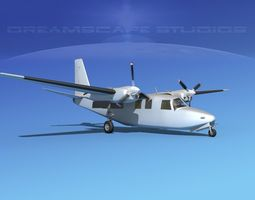 Aero Commander 500 Bare Metal 3D