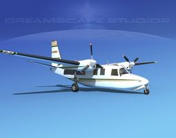 3d model aero commander 500 v04 animated