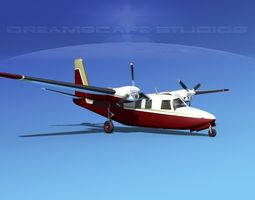 3d model aero commander 500 v05 animated