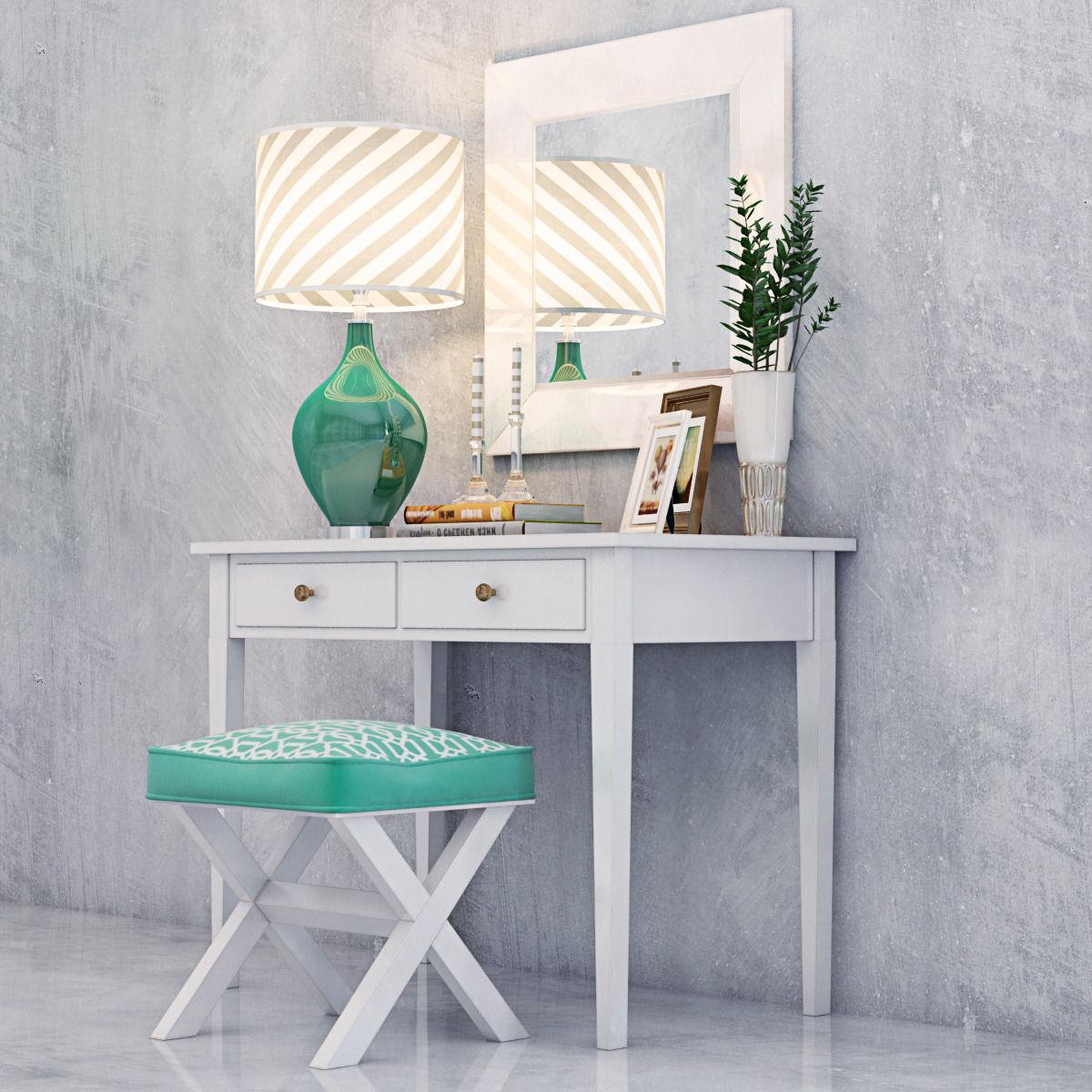 MODERN VANITY Dressing Table with Decorative Set 3D model MAX OBJ MTL