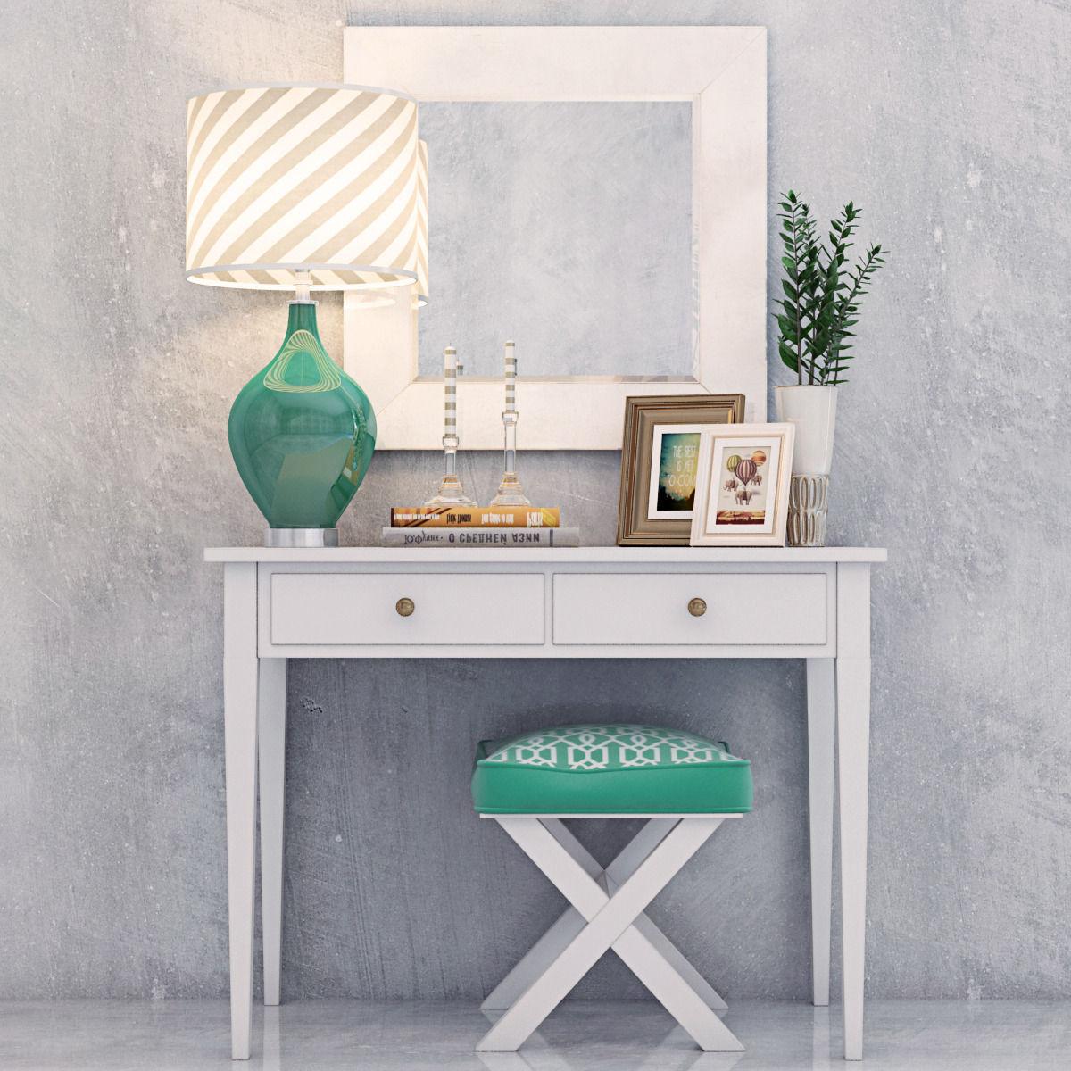 Modern Vanity Dressing Table With Decorative Set 3d Model Max Obj Mtl 1 ...