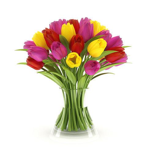 three-color tulips 3d model max obj mtl fbx c4d 1