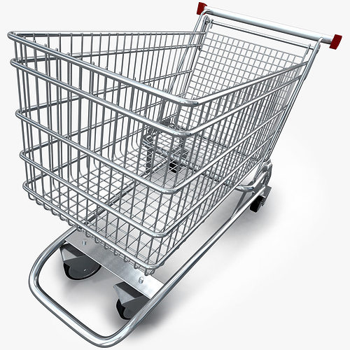 3d model realistic shopping cart cgtrader