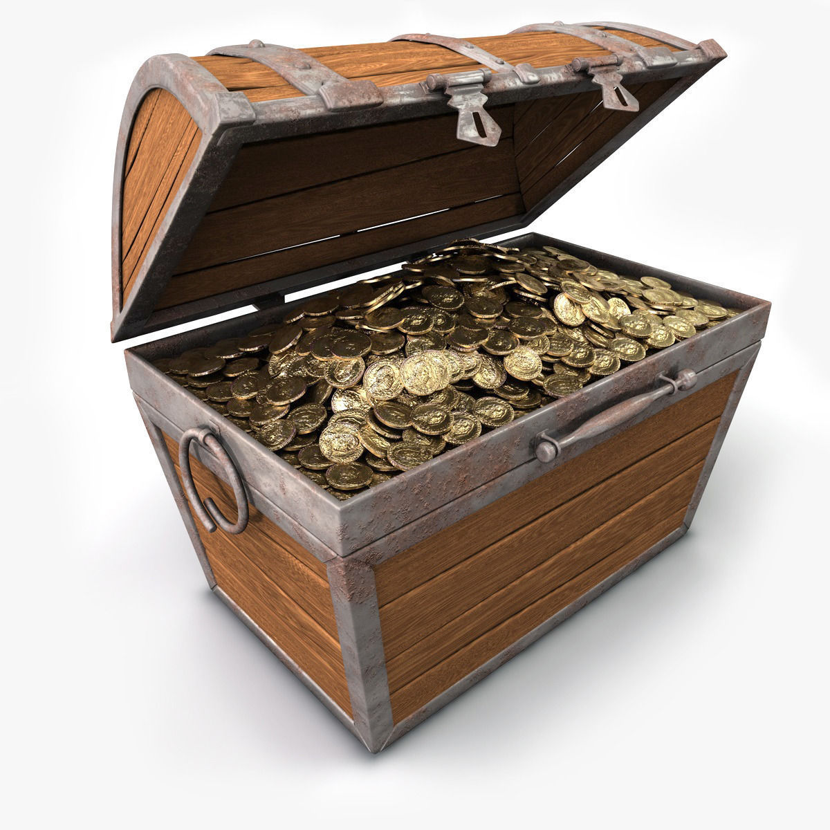 treasure chest with gold 3d model obj 3ds fbx c4d cgtrader com