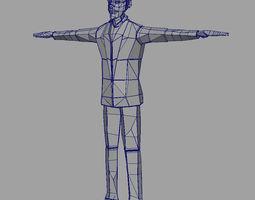 3d model paper man d rigged