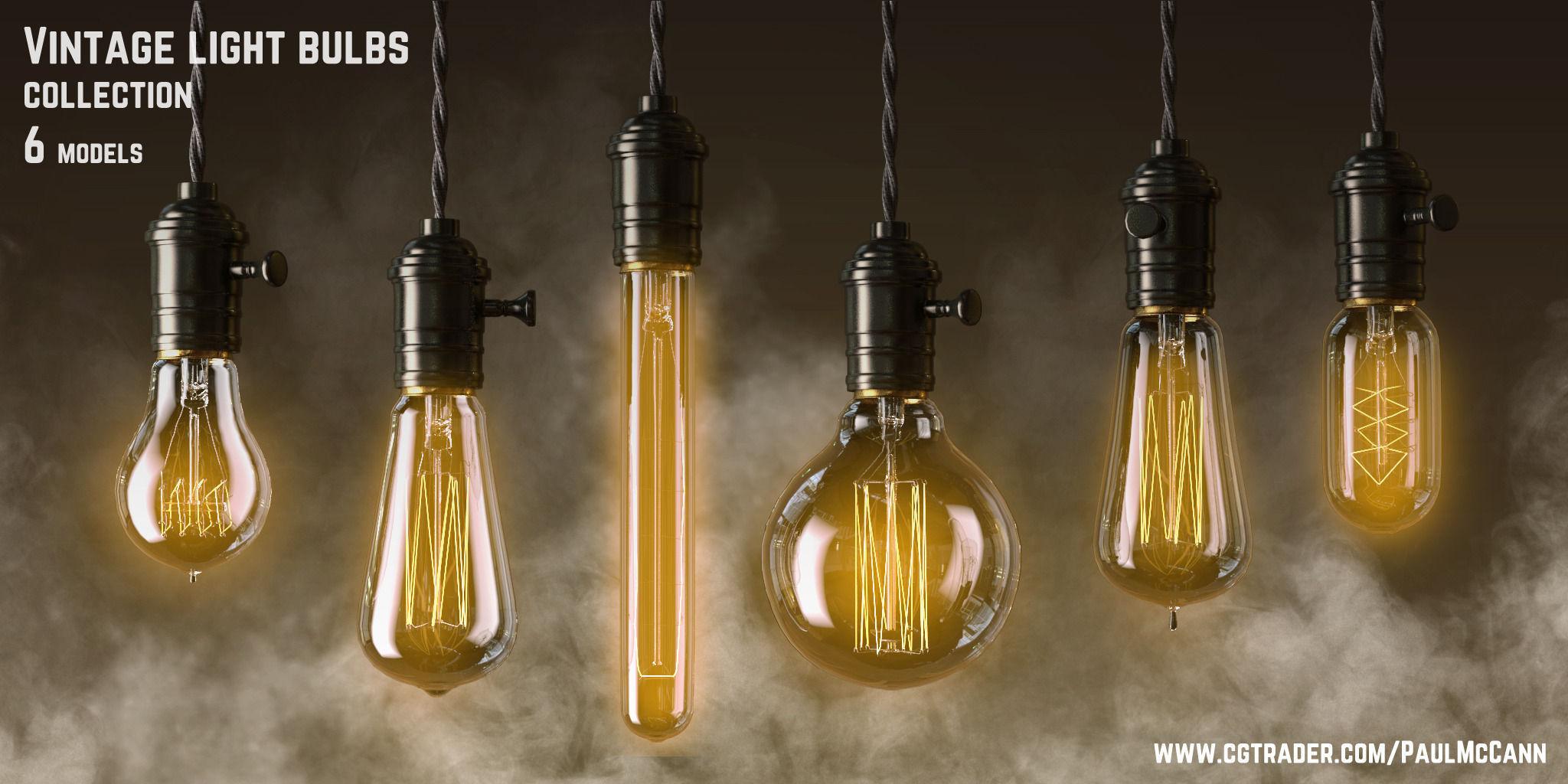 vintage edisson light bulbs collection 3d model max obj mtl 2