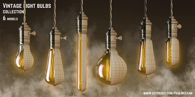 vintage edisson light bulbs collection 3d model max obj mtl 1